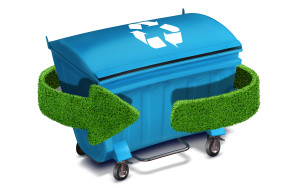 Blue plastic trash recycling container ecology concept, with landscape background.